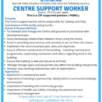 2x Job Opportunities: Barrow Valley Activities Hub